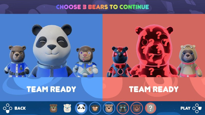 Player ready screen showing a blue team and a red team.