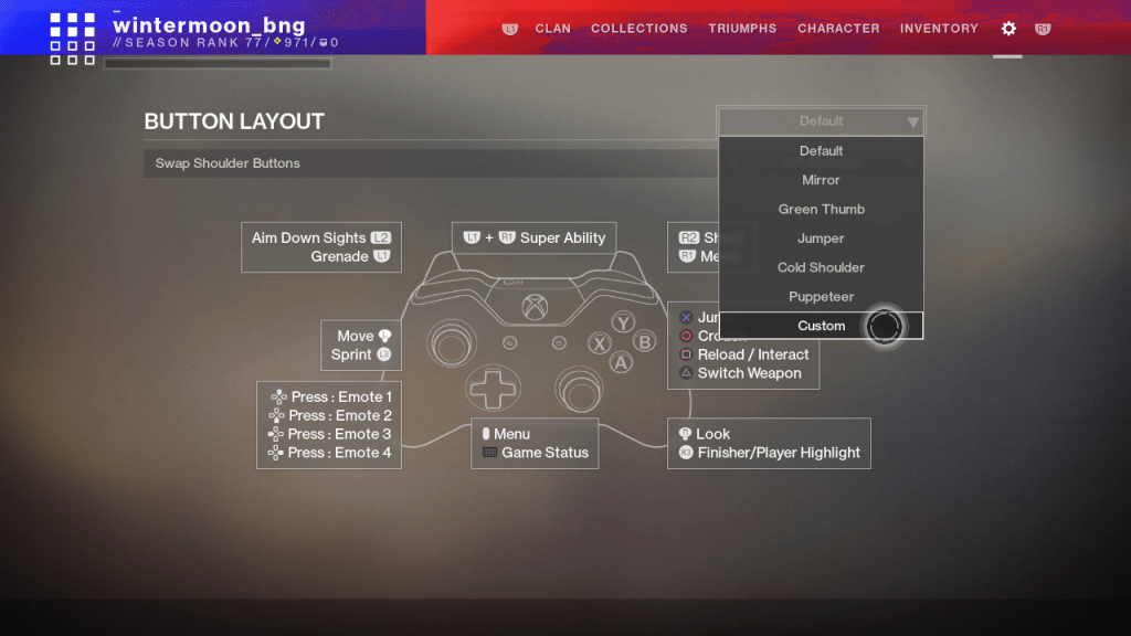 Destiny 2 controller remapping options menu. Showing presets available and a controller vector.