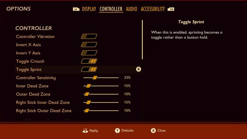 Controller options menu.