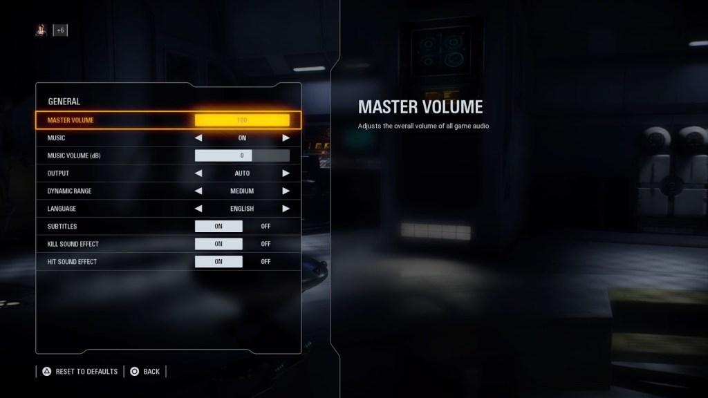 Star Wars Battlefront 2 - Options menu showing master volume