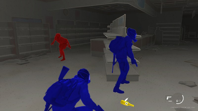 The Last of Us 2 - Illustrating the High Contrast Mode with friendly characters in blue, enemies in red, and interactable objects in yellow.