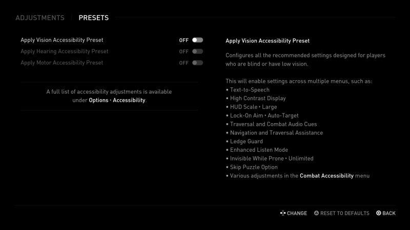 The Last of Us 2 - Vision Accessibility Preset.
