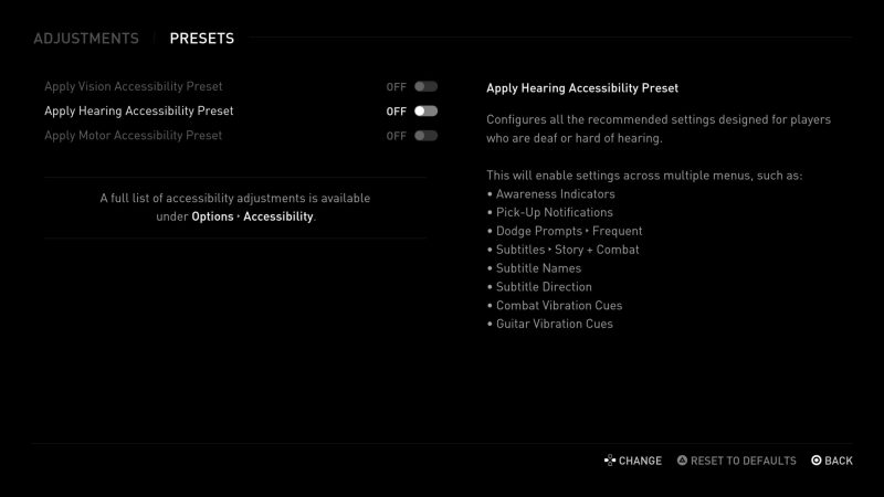 Hearing Accessibility Presets