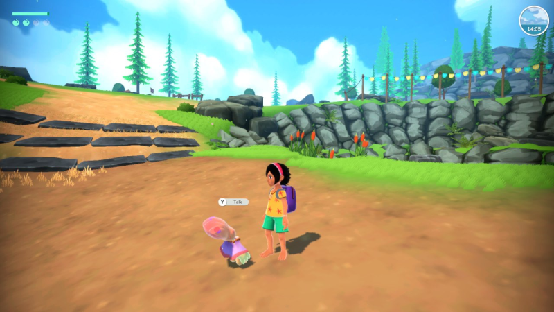 Summer of Mara - Screenshot showing Koa in a bright yellow shirt and green shorts against a sandy hill