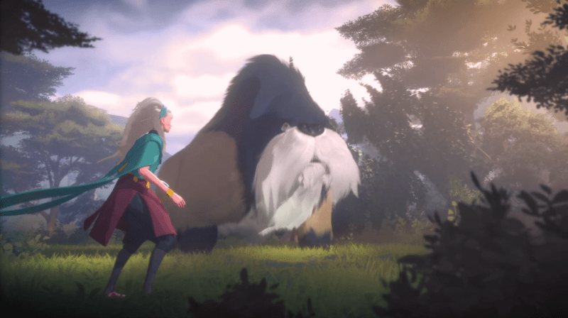 Everwild, a human stands watching a giant elephant looking creature with a bushy beard next to a fallen tree.
