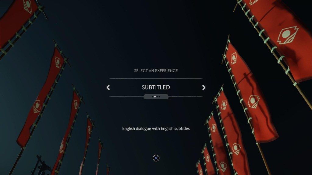 Showing the option to turn on subtitles prior to the start of the game.