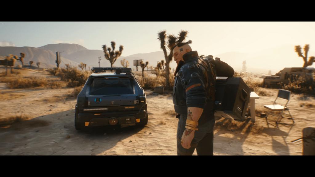 Cyberpunk 2077 man walking toward car in desert