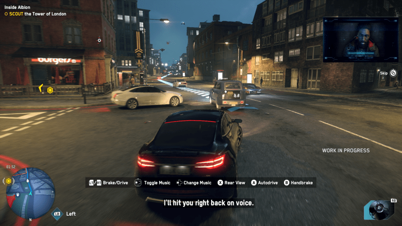 Watch Dogs Legion driving with arrow markings on the ground