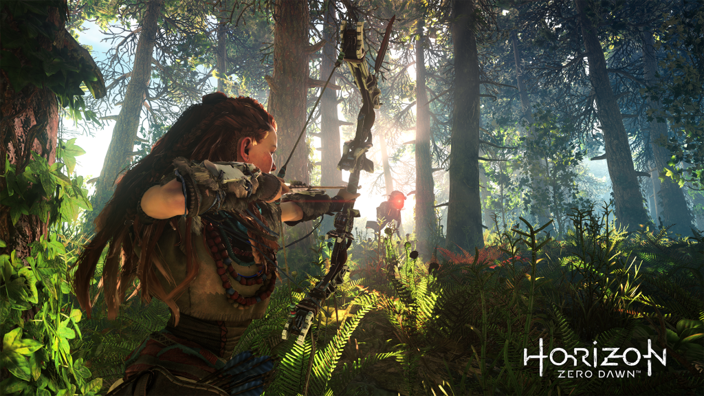 Aloy in a forest aiming her bow.