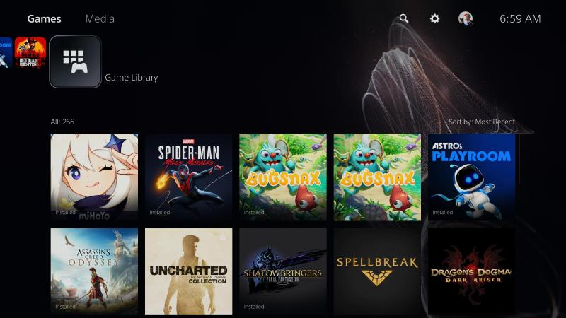 The game library extension of the home screen.