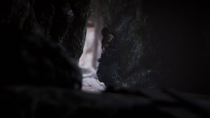 Eivor leaving a cave in Assassin's Creed Valhalla