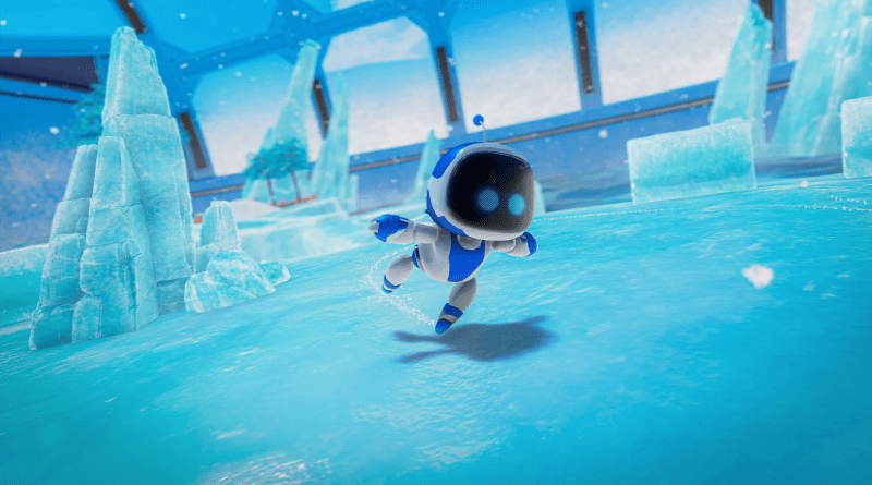 Astro swimming in a bright blue pool.