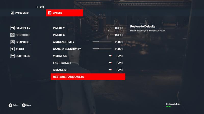 The controls menu in Hitman 3.