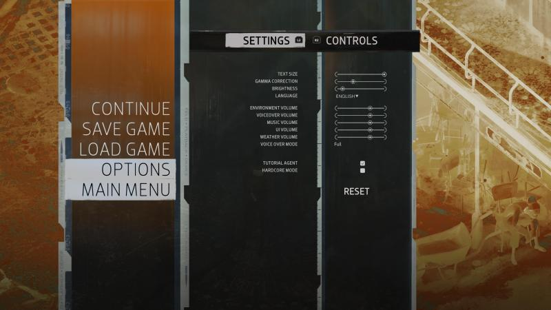 The options menu.