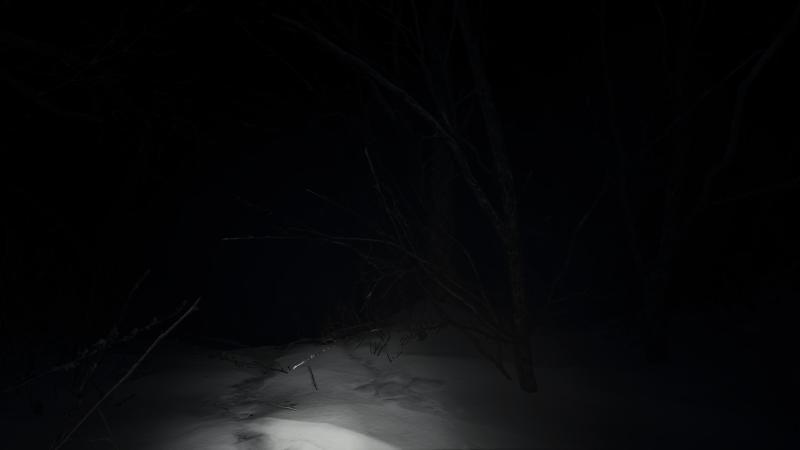 A dark scene illustrating the lack of captions.