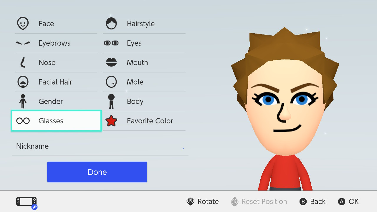 """Miitopia character creation with """"glasses"""" highlighted."""