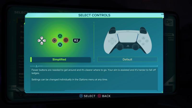Simplified versus default control options.