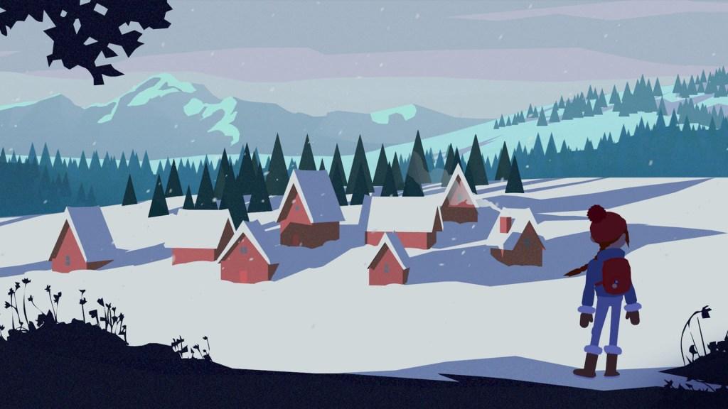 Roki overlooking snow topped village