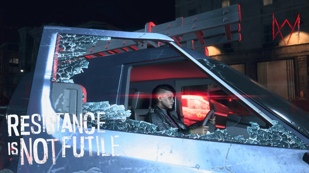 Watch Dogs character driving a van, shown through a shattered window.