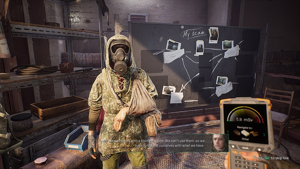 chernobylite active subtitles with character standing by a heist layout board