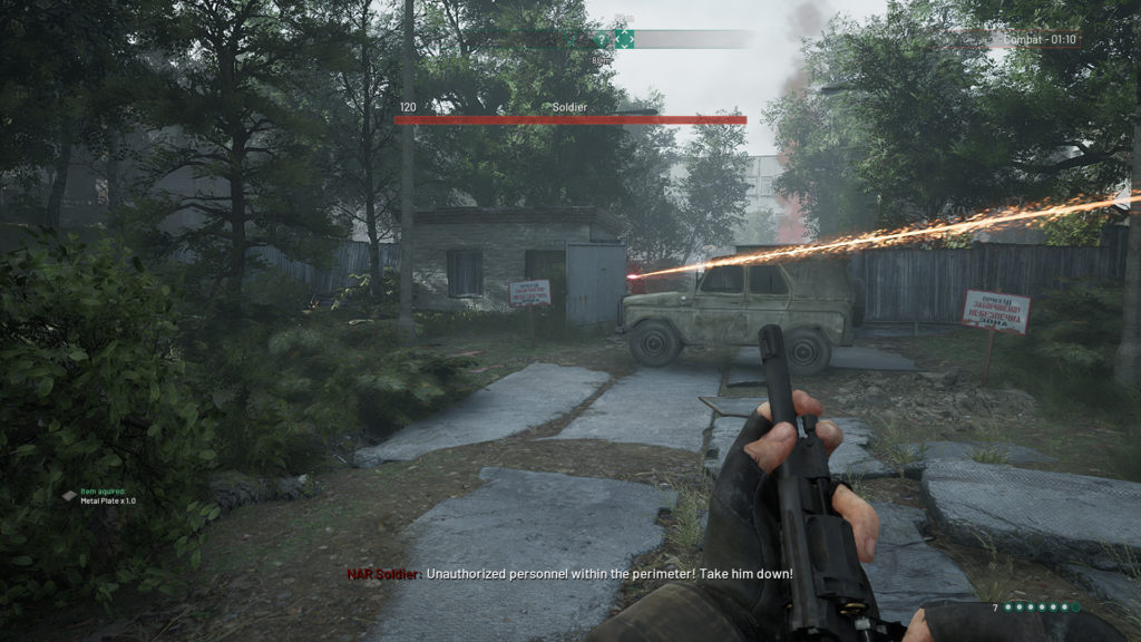 chernobylite accessibility features showing enemy laser and other HUD elements