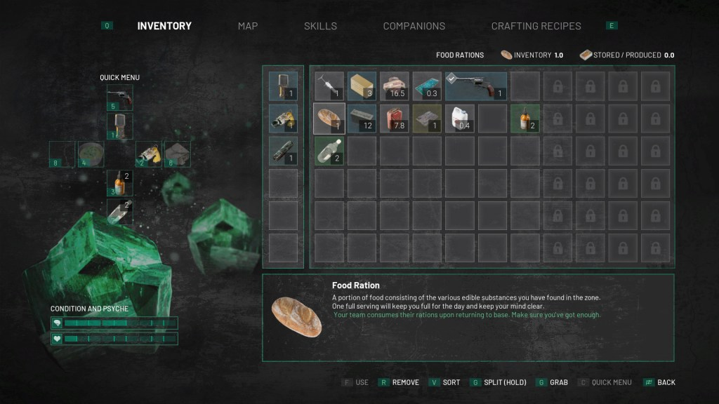 chernobylite quick menu and inventory