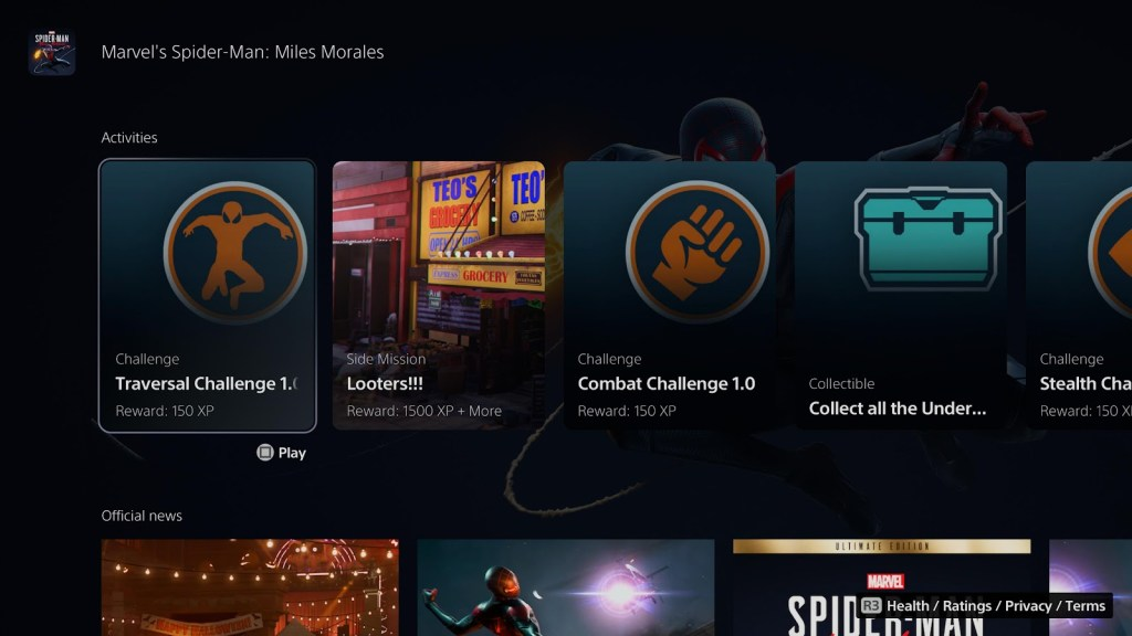 Spider-Man Miles Morales activities available on the PS5 home screen.
