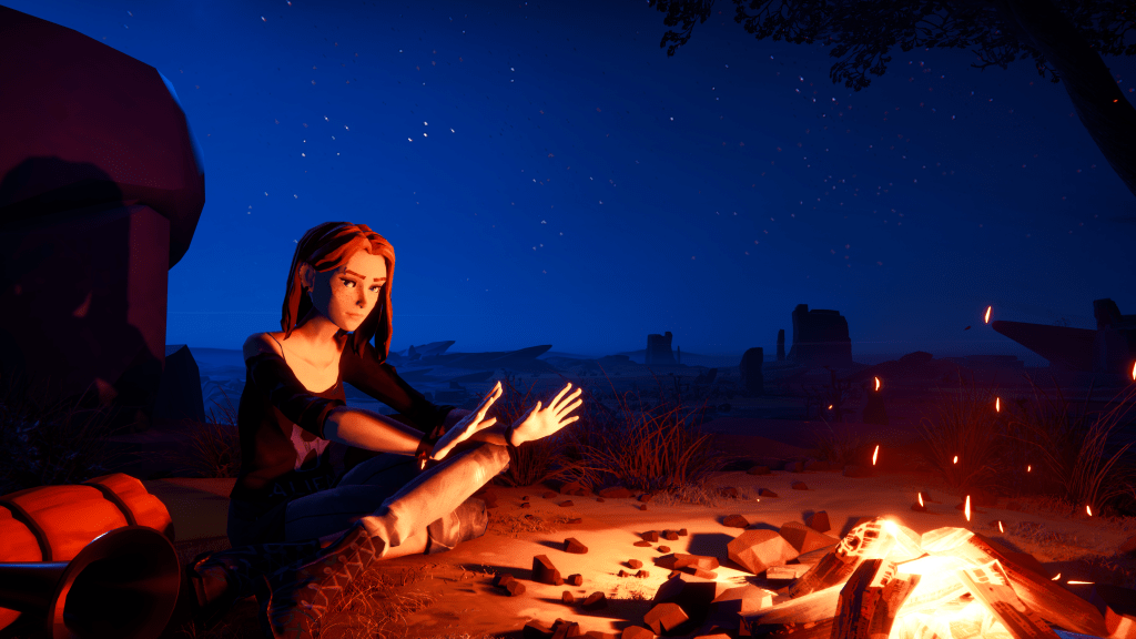Road 96 accessibility -Zoe at a campfire