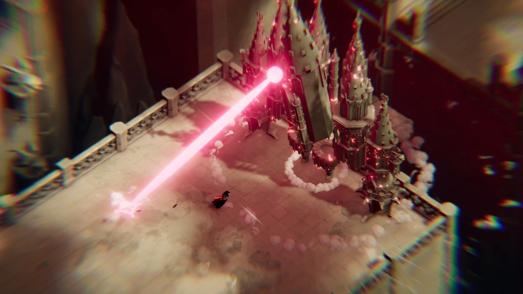 Death's Door combat with a giant laser being fired