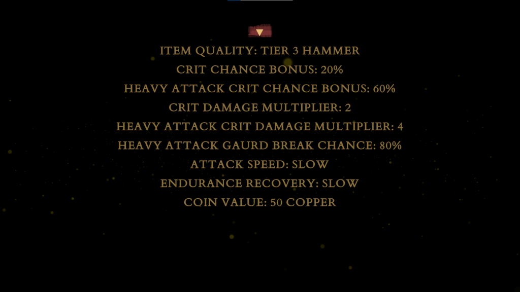 The Vale inventory menu.