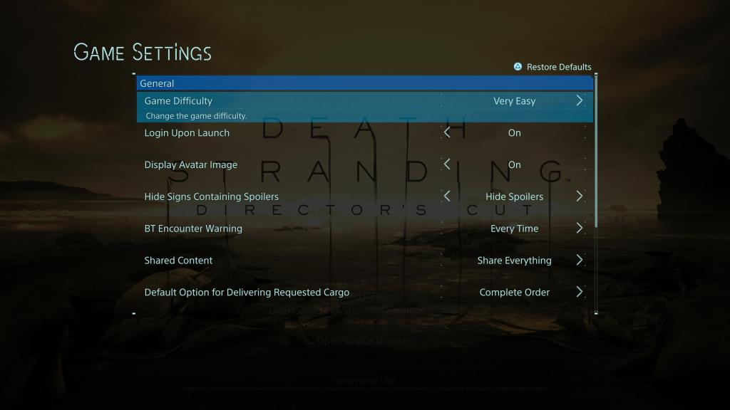 Game settings menu with game difficulty highlighted and very easy selected.