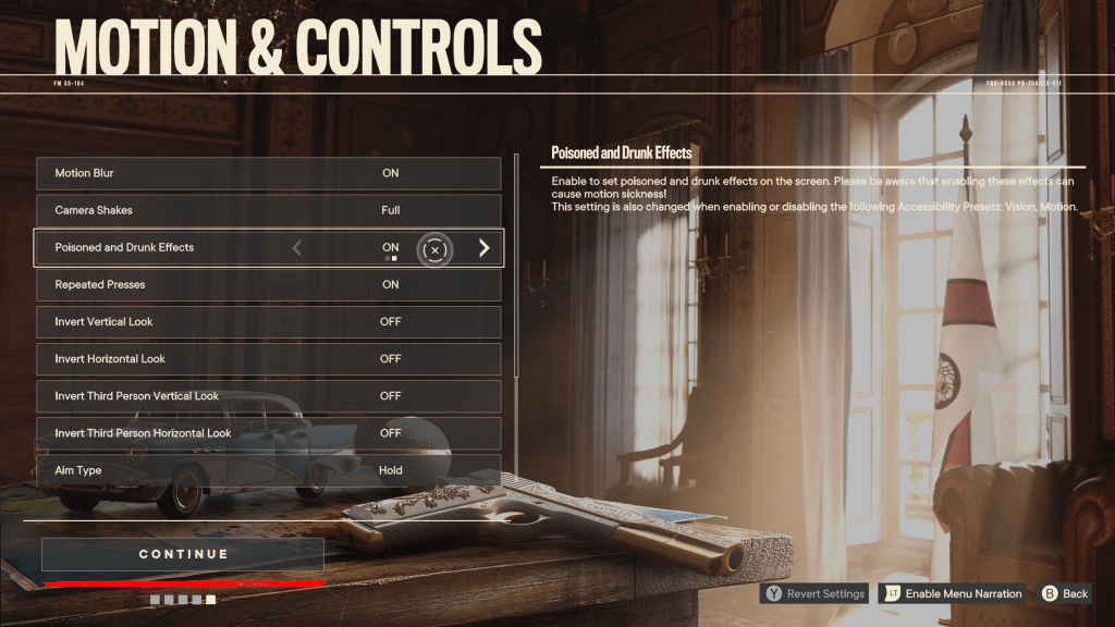 Far Cry 6 boot menu showing motion and controls