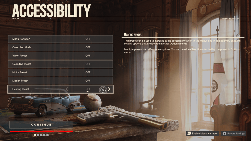 The accessibility menu that appears on first launch.