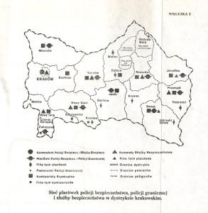 Sieć placówek policji bezpieczeństwa, policji granicznej i Służby bezpieczeństwa w dystrykcie krakowskim.