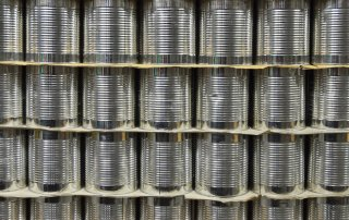 Can It - Large Food Cans Packed in Pallets in our Warehouse at Can It