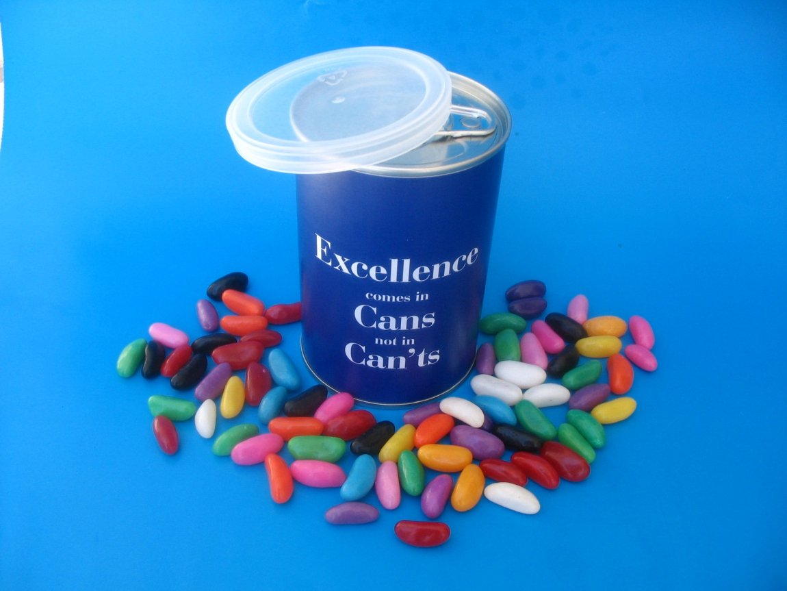 Tin can with sweets inside