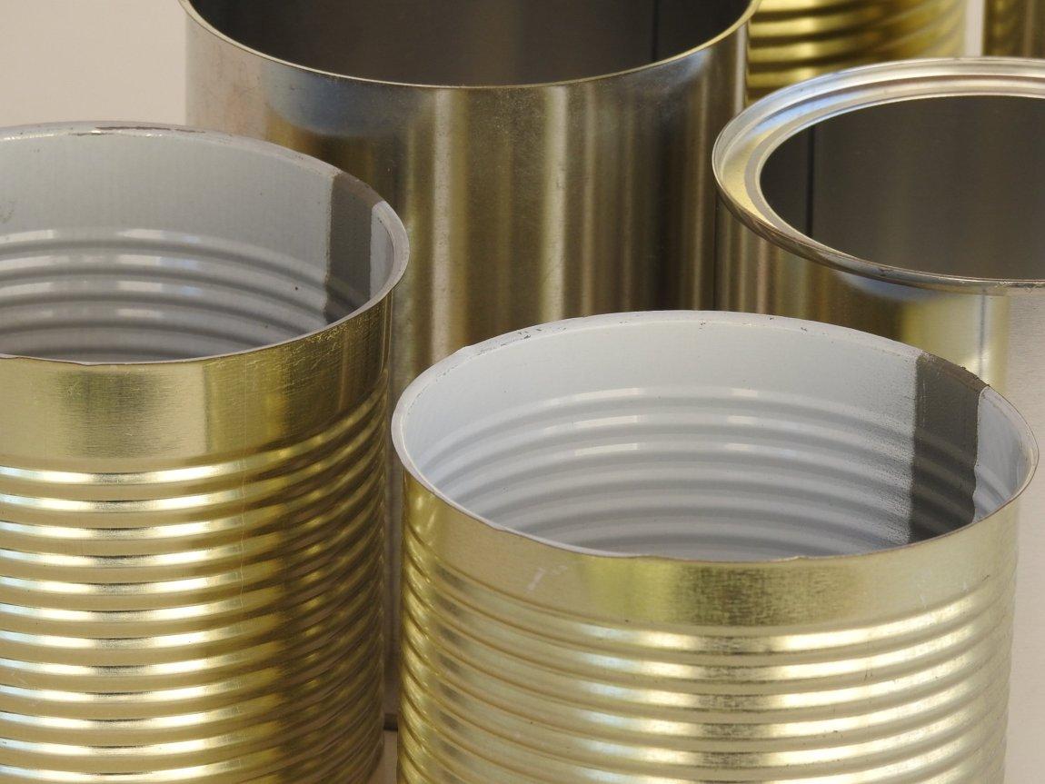 Closeup of Metal Food Tin Cans
