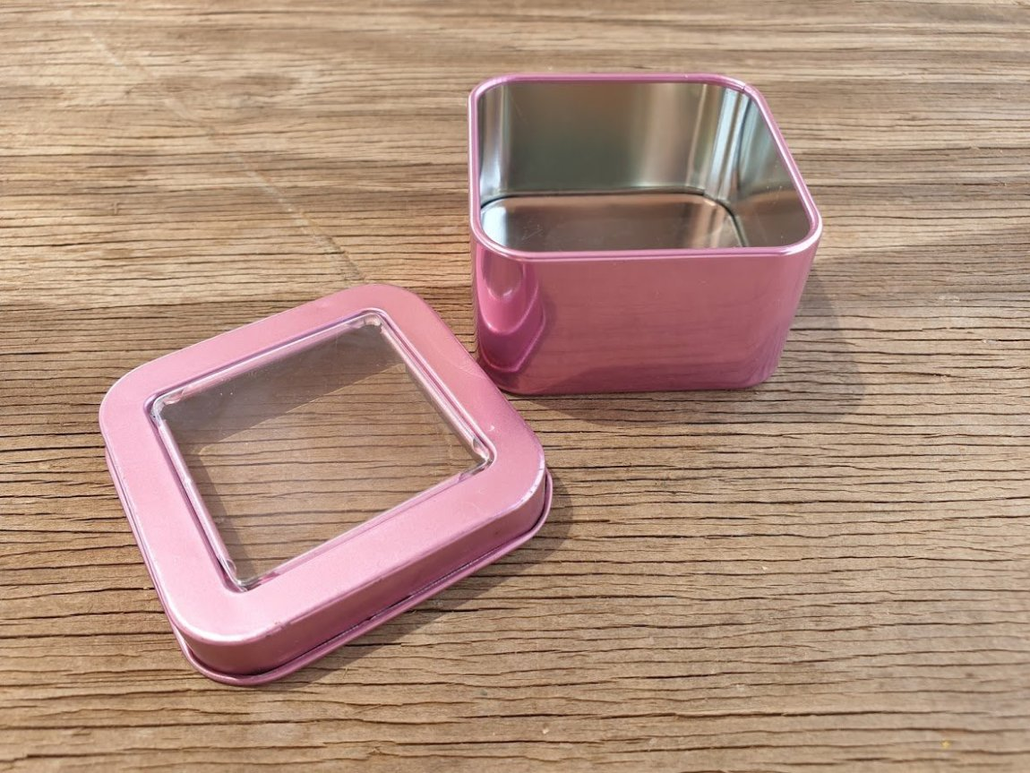 Pink Square Window Tins