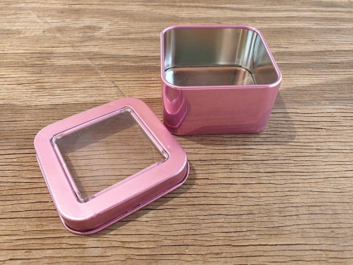 Pink Square Window Tins