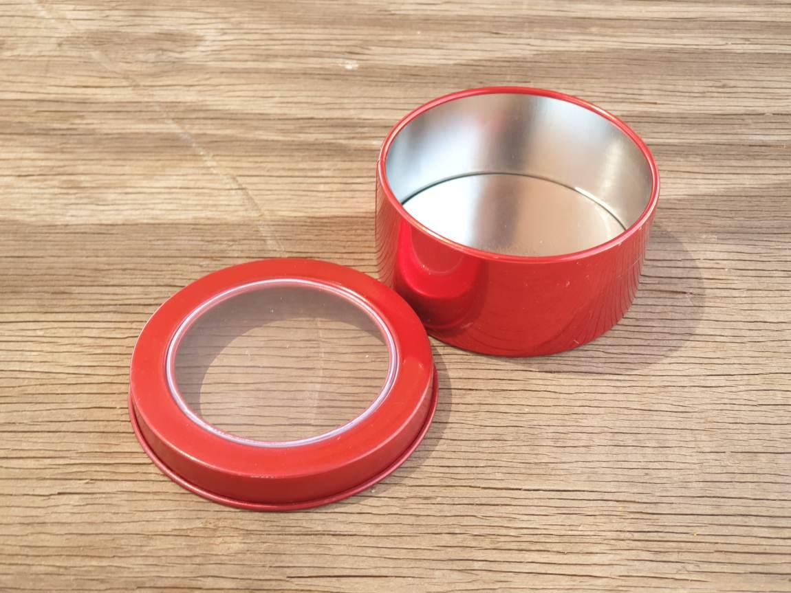 Red Round Window Tins