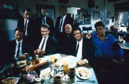 Harvey-Keitel-Tim-Roth-Quentin-Tarantino-Steve-Buscemi-Edward-Bunker-Lawrence-Tierney-Michael-Madsen-and-Chris-Penn-on-the-set-of-Reservoir-Dogs