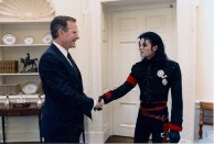 President Bush with Michael Jackson in the Oval Office at The White House