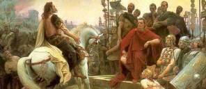 Vercingétorix arroja sus armas a los pies de Julio César de Lionel Noel Royer 1899