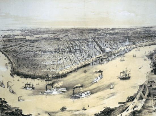 Mapa histórico de Nueva Orleans con los Steamboats en el río. Estos barcos fueron clave en el desarrollo musical de la ciudad.