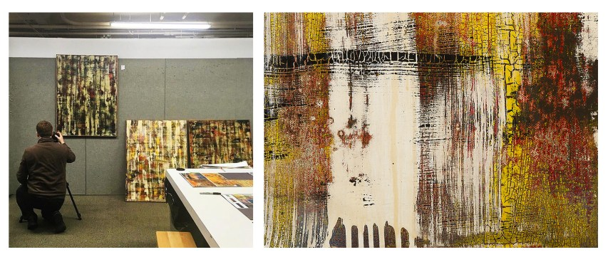 Mark Thomas' paintings being photographed in the 4walls studio, and detail of Ballast.
