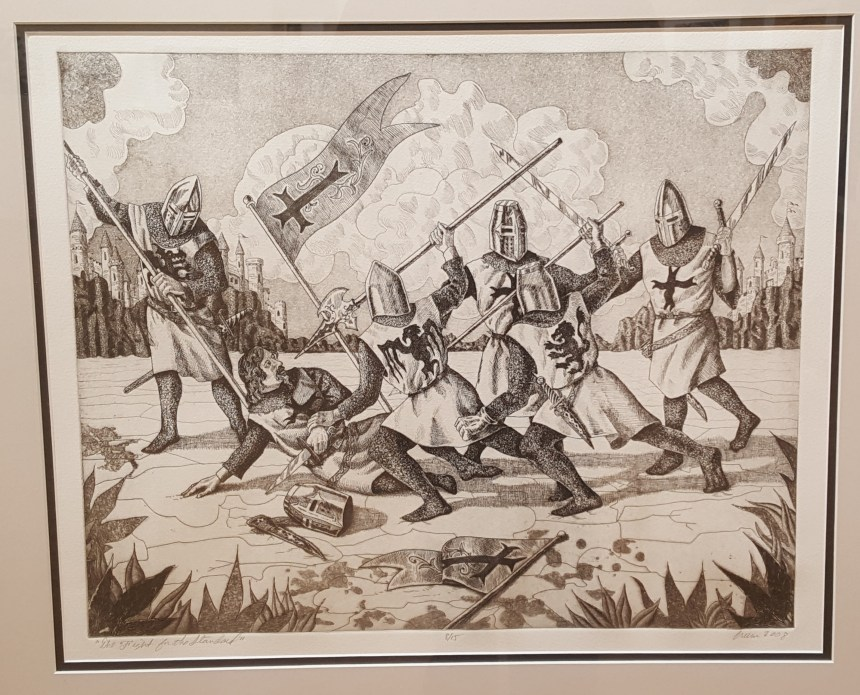 Sean Crum, the fight for the Standard, 2008, etching, aquatint, liftground, softground