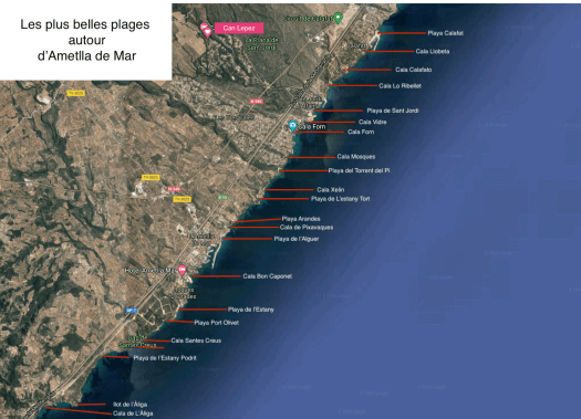 Carte des plages Ametlla de Mar