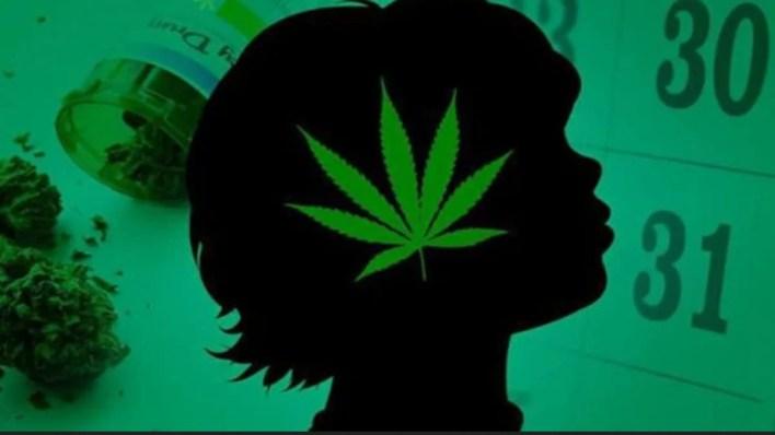 silhouette du visage d'un enfant avec une image de feuille de cannabis dessus