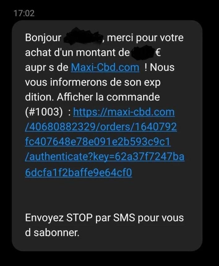 sms de confirmation de commande sur maxicbd