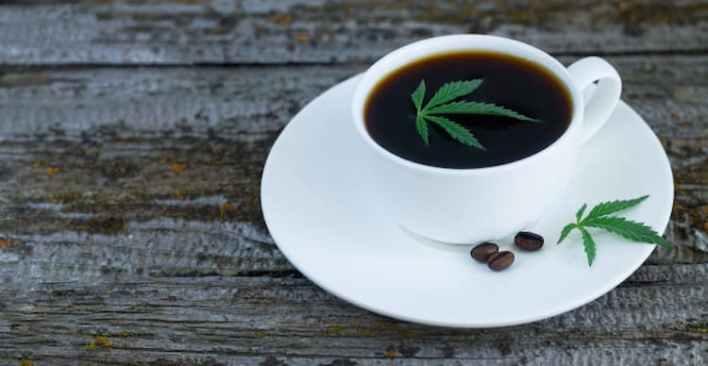 tasse de café avec feuilles de cbd, cbd et caféine